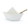 origami folding paper metal stationery pen holder boat